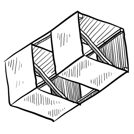 paper kite: Doodle style box kite illustration suitable for web, print, or advertising use.