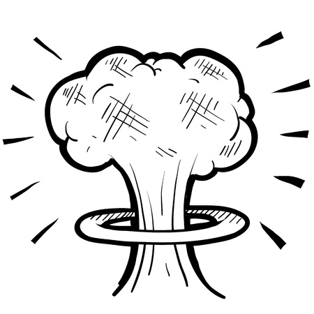 atomic bomb: Doodle style nuclear mushroom cloud illustration suitable for web, print, or advertising use. Stock Photo