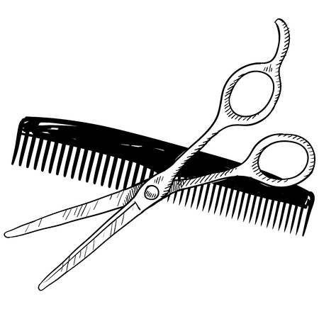 barber scissors: Doodle style hair stylist or barber scissors and comb illustration suitable for web, print, or advertising use.