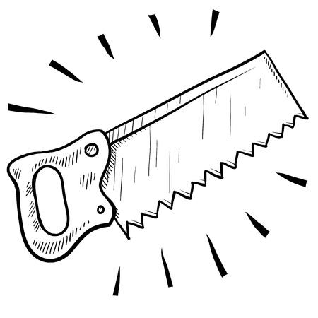 serrucho: Doodle ilustración de estilo carpintero sierra adecuada para web, impresión, o el uso de publicidad. Foto de archivo