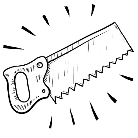 handsaw: Doodle style carpenters saw illustration suitable for web, print, or advertising use. Stock Photo