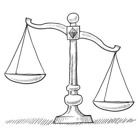 trial balance: Doodle escalas de estilo de punta o desequilibrada de la ilustraci�n de justicia adecuado para web, impresi�n, o el uso de publicidad.