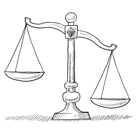 illustration for advertising: Doodle style tipped or unbalanced scales of justice illustration suitable for web, print, or advertising use.