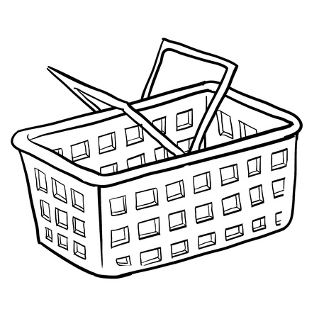 transact: Doodle style shopping basket illustration or e-commerce icon suitable for web, print, or advertising use. Stock Photo