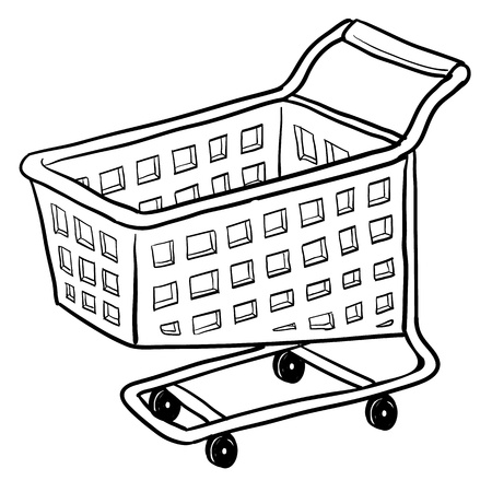 gift basket: Doodle style shopping cart illustration or e-commerce icon suitable for web, print, or advertising use. Stock Photo