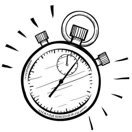 awaken: Doodle style stopwatch or timer illustrationsuitable for web, print, or advertising use.