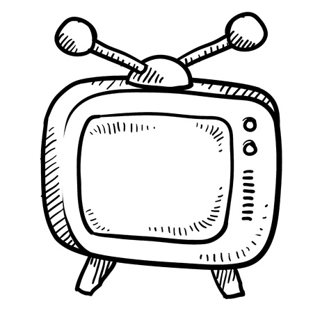 episode: Doodle style retro television illustration or media icon suitable for web, print, or advertising use.