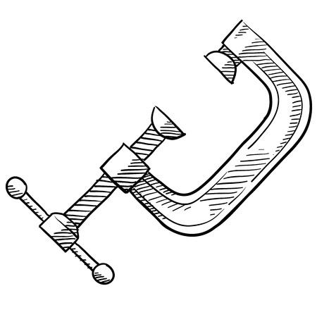 목공 또는 웹, 인쇄, 또는 광고 사용에 적합 목공 그림 낙서 스타일의 C 클램프.