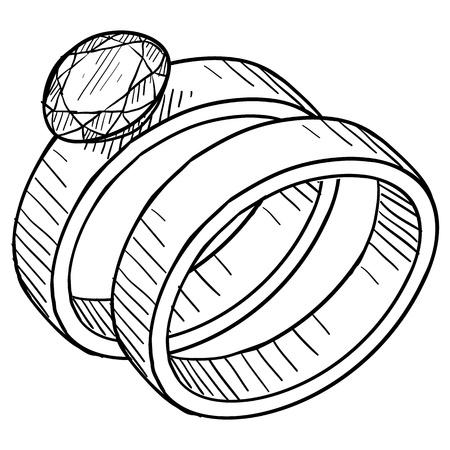 ring engagement: Doodle de diamantes de estilo del anillo de bodas y el compromiso de la ilustraci�n de anillo adecuado para web, impresi�n, o el uso de publicidad.