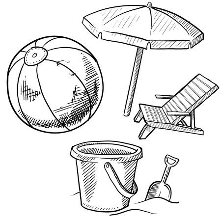 버킷: 세트에있는 낙서 스타일의 해변 휴가 항목의 그림은 해변 의자, 비치 볼, 그리고 양동이와 삽을 포함