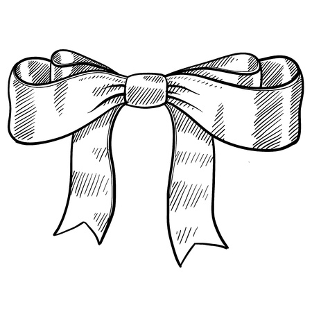 Doodle style decorative ribbon and bow illustration Vettoriali