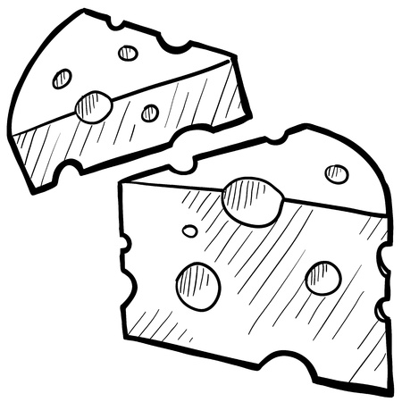 kaas: Doodle stijl verse kaas illustratie