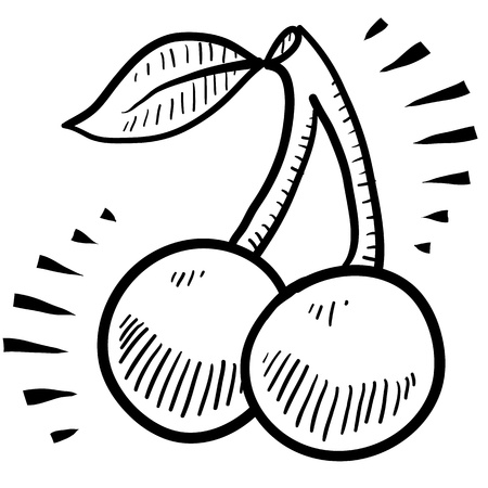 Doodle style fresh, juicy cherries illustration Ilustracja