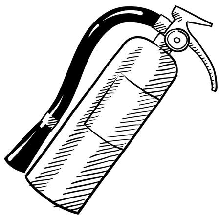 Doodle stijl brandblusser Stock Illustratie
