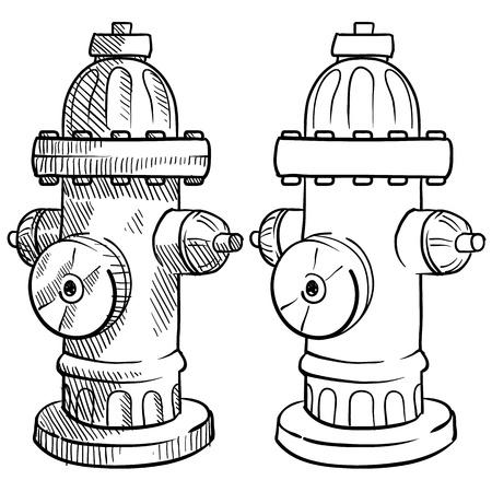 incendio casa: Doodle hidrante contra incendios estilo de la ilustraci�n