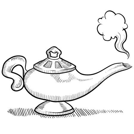 Doodle style genie aladdin s lamp illustration  Иллюстрация