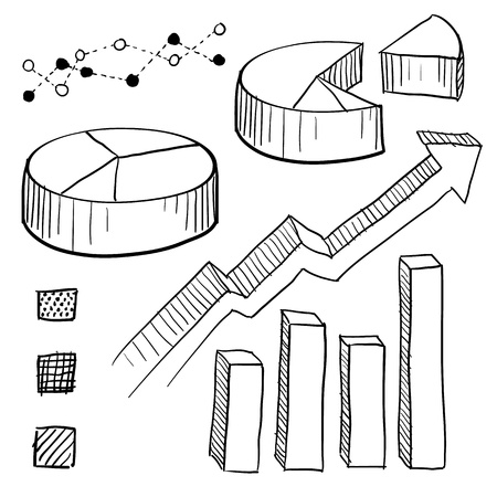 Doodle style charts, graphs, and plotting components illustration  Set includes parts for pie charts, bar graphs, line plots, and legends