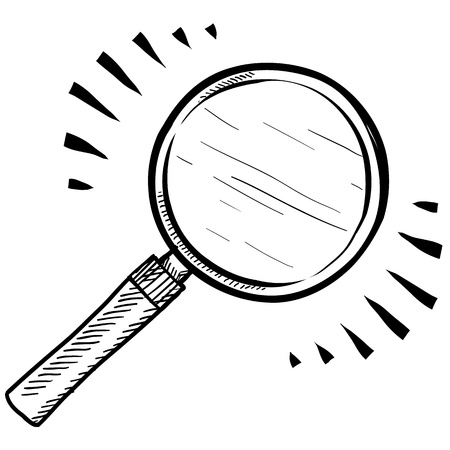 Doodle style magnifying glass, search, or look icon illustration Vettoriali