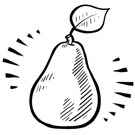 pera: Doodle estilo fresco, ilustraci�n de pera jugosa