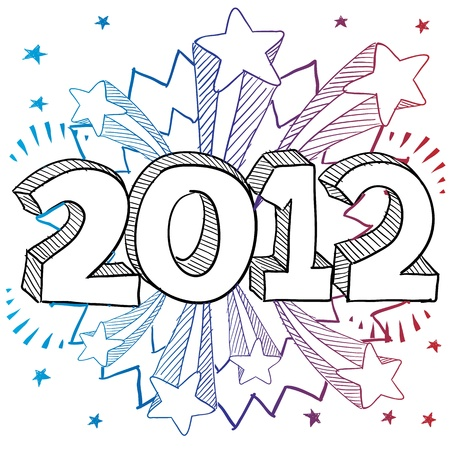 festivities: Doodle style 2012 New Year illustration with retro 1970s shooting stars pop background  Illustration