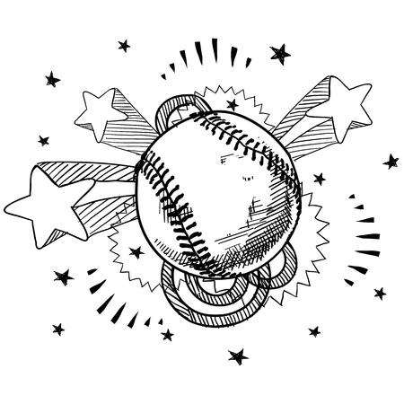 guante de beisbol: Ilustraci�n de Doodle de b�isbol de estilo retro pop con la d�cada de 1970 de fondo