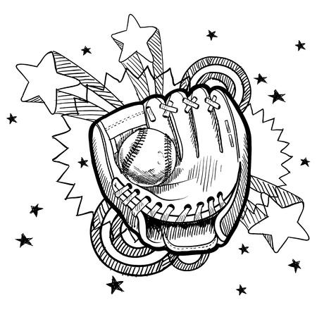 guante de beisbol: Doodle de b�isbol estilo de ilustraci�n a mano con 1970 retro pop de fondo