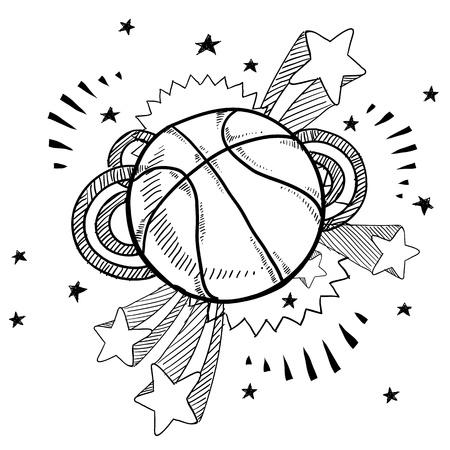 Doodle stijl basketbal illustratie met retro jaren 1970 verschijnen achtergrond