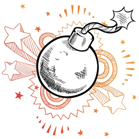 Doodle style old fashioned explosive bomb illustration with retro 1970s pop background  Stock Illustratie
