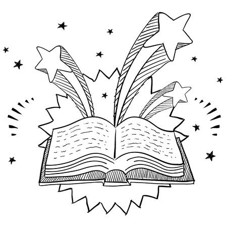 Doodle stijl open bibliotheek boekillustratie met retro jaren 1970 verschijnen achtergrond Stock Illustratie