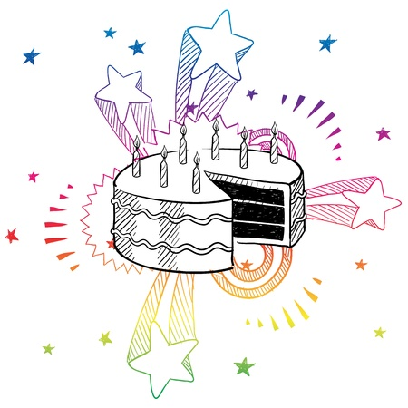 Doodle style birthday cake illustration with retro 1970s pop background Stock Vector - 13258712