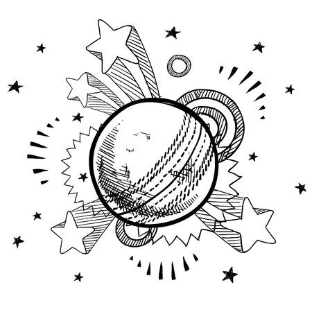 Doodle stijl cricket bal illustratie met retro jaren 1970 verschijnen achtergrond