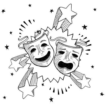 Doodle style theater or drama masks illustration with retro 1970s pop background