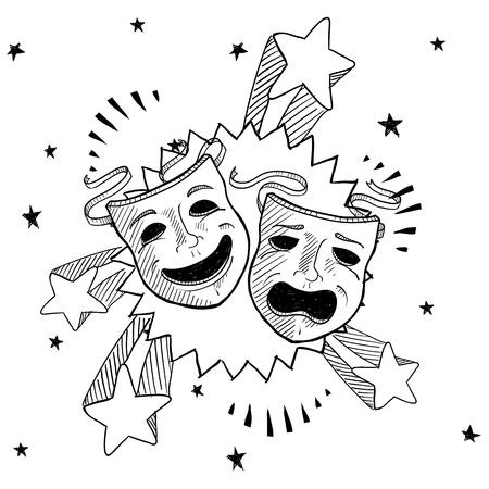 예행 연습: 낙서 스타일의 극장이나 복고 1970 년대 대중 음악 배경으로 드라마 마스크 그림