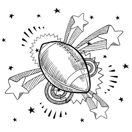Doodle stijl American football illustratie met retro jaren 1970 pop achtergrond