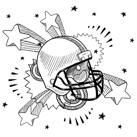 concussion: Doodle style football helmet illustration with retro 1970s pop background  Illustration