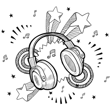 earphone: Doodle style audio headphones illustration with retro 1970s pop background