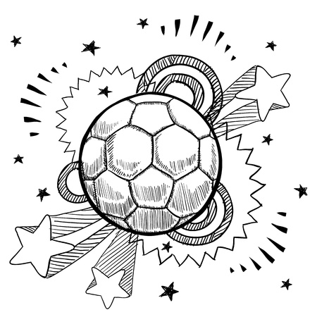 Doodle style soccer or futbol sports illustration with retro 1970s pop background