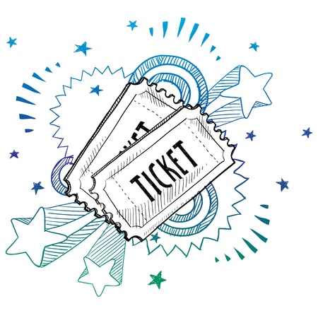 Doodle style movie or concert ticket illustration with retro 1970s pop background