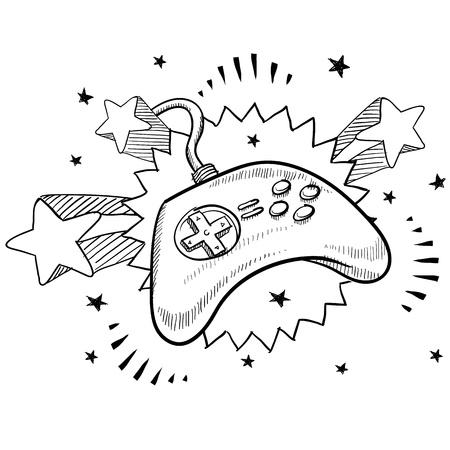 落書きスタイルのビデオゲーム コント ローラー レトロな 1970 年代のポップの背景と図