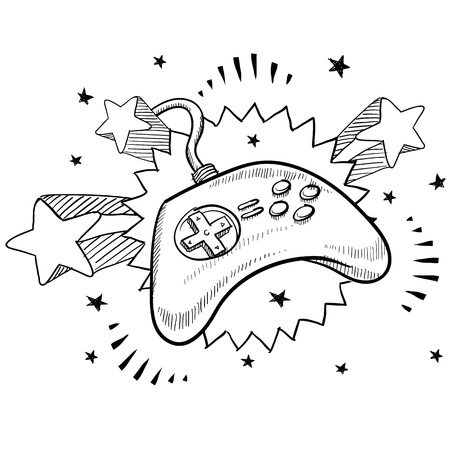 Doodle style video game controller illustration with retro 1970s pop background