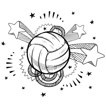 Doodle style volleyball sports illustration with retro 1970s pop background