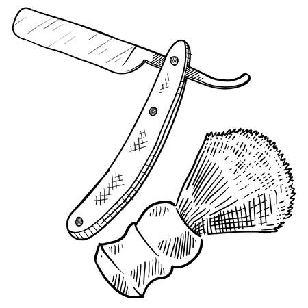 Doodle retro stijl scheermes en scheerkwast illustratie Vector Illustratie