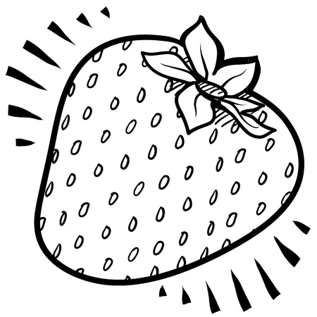 Doodle style fresh, juicy strawberry illustration