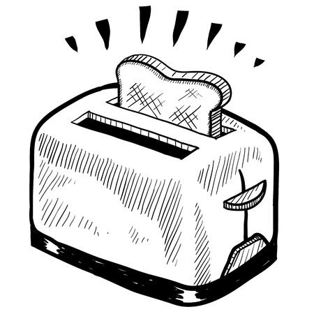 Doodle ontbijt broodrooster illustratie Vector Illustratie