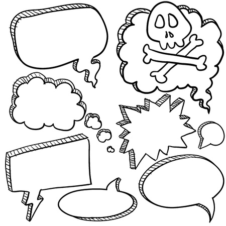 chat: Doodle style cartoon conversation, speech, or thought bubbles in illustration format