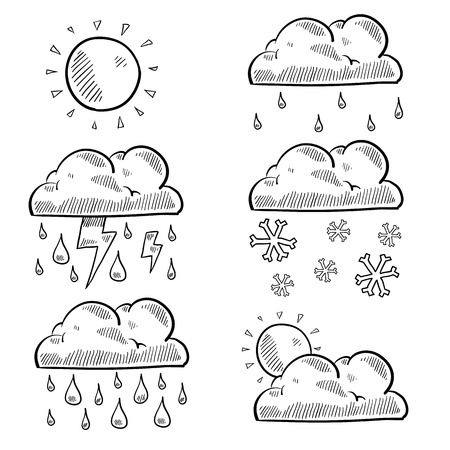 precipitation: Doodle style clouds and weather illustration  Set includes rain, shine, snow, storm, cloudy, and lightning