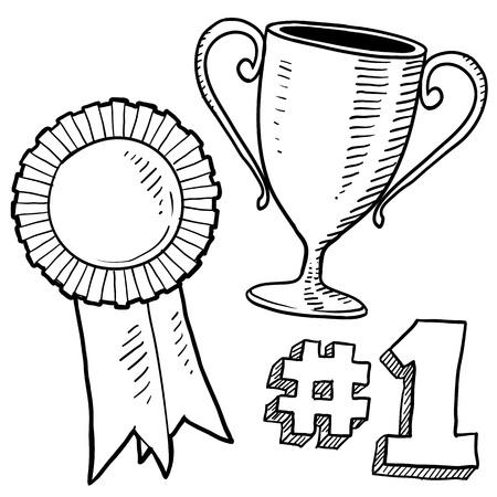 trofeo: Doodle de estilo boceto de premios en formato vectorial Set incluye trofeo, cinta, y el 1er lugar gr�fica