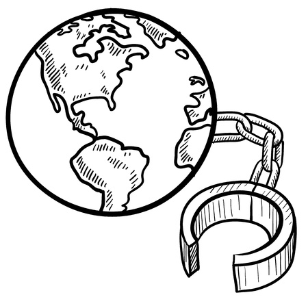 slave labor: Doodle style global ball and chain sketch in vector format