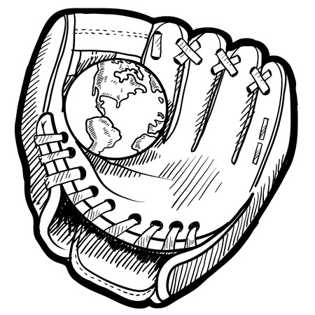 umpire: Doodle style baseball mitt with globe sketch in vector format  Stock Photo