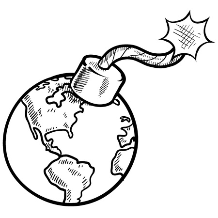 vector bomb: Doodle style global time bomb sketch in vector format  Stock Photo